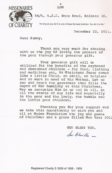 Letter from the Missionaries of Charity